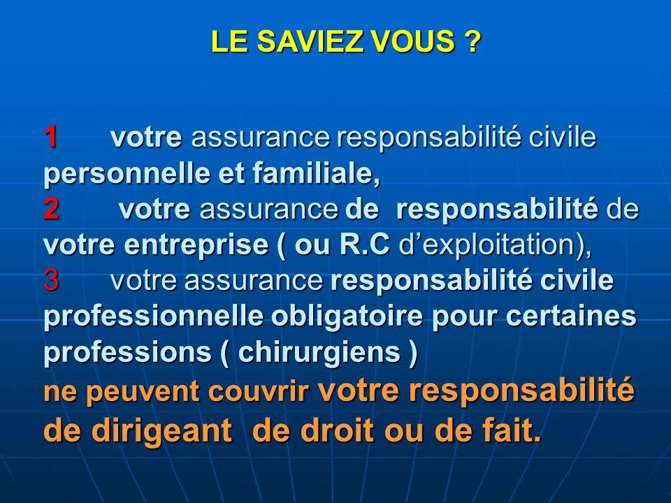 1votre assurance responsabilité civile personnelle et familiale, 2 votre assurance de responsabilité de votre entreprise ( ou R.C dexploitation), 3vot