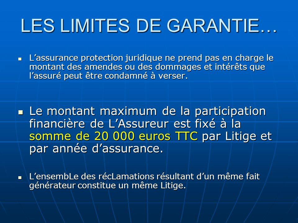 LES LIMITES DE GARANTIE… Lassurance protection juridique ne prend pas en charge le montant des amendes ou des dommages et intérêts que lassuré peut êt