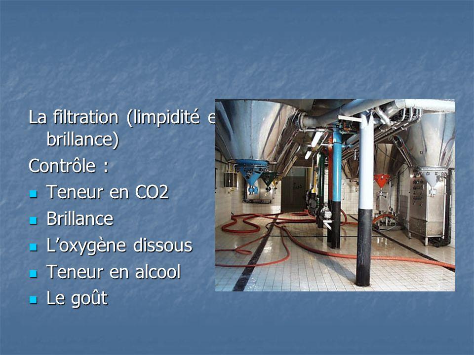 La filtration (limpidité et brillance) Contrôle : Teneur en CO2 Teneur en CO2 Brillance Brillance Loxygène dissous Loxygène dissous Teneur en alcool T