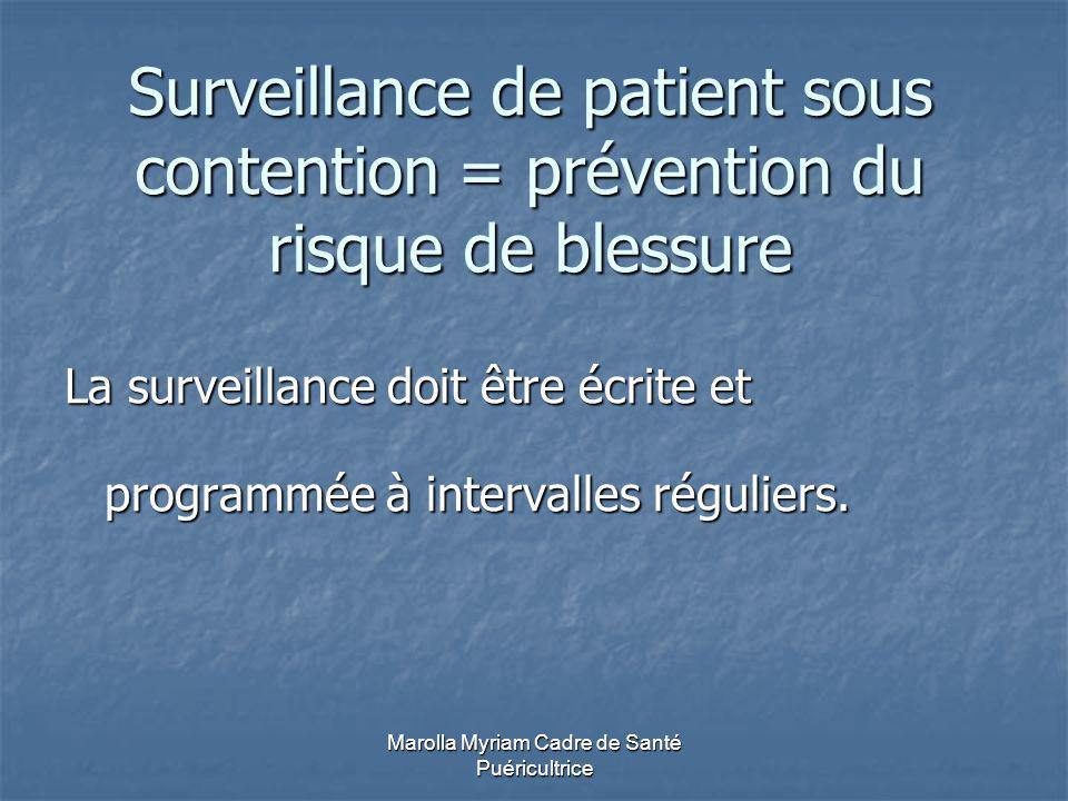 Marolla Myriam Cadre de Santé Puéricultrice Surveillance de patient sous contention = prévention du risque de blessure La surveillance doit être écrite et programmée à intervalles réguliers.