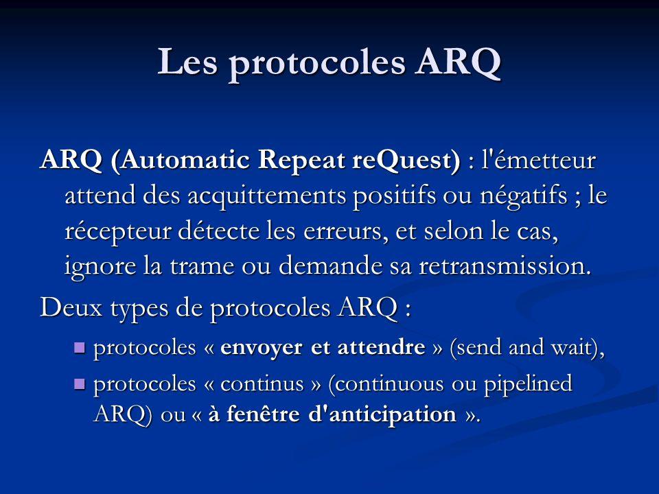 Les protocoles ARQ ARQ (Automatic Repeat reQuest) : l'émetteur attend des acquittements positifs ou négatifs ; le récepteur détecte les erreurs, et se