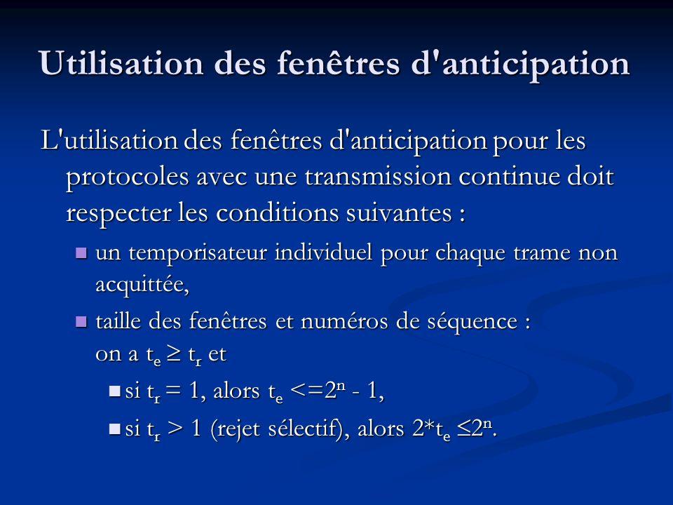 Utilisation des fenêtres d'anticipation L'utilisation des fenêtres d'anticipation pour les protocoles avec une transmission continue doit respecter le