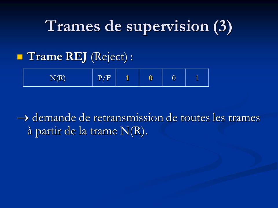 Trames de supervision (3) Trame REJ (Reject) : Trame REJ (Reject) : demande de retransmission de toutes les trames à partir de la trame N(R). demande