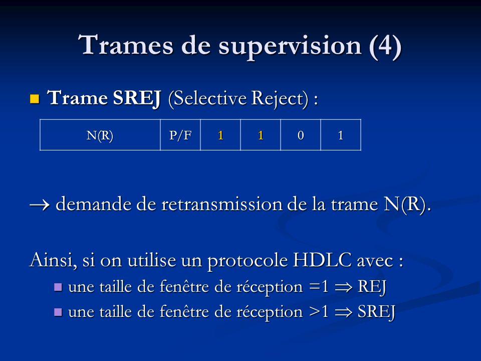 Trames de supervision (4) Trame SREJ (Selective Reject) : Trame SREJ (Selective Reject) : demande de retransmission de la trame N(R). demande de retra