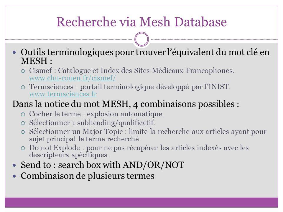 Recherche via Mesh Database Outils terminologiques pour trouver léquivalent du mot clé en MESH : Cismef : Catalogue et Index des Sites Médicaux Franco