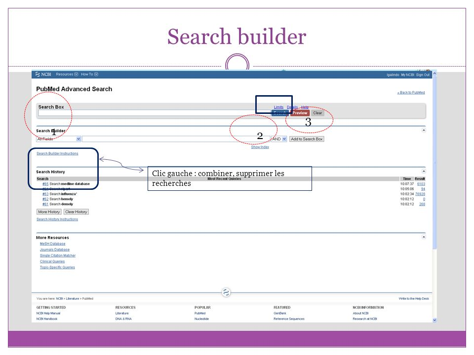 Search builder 2 1 3 Clic gauche : combiner, supprimer les recherches