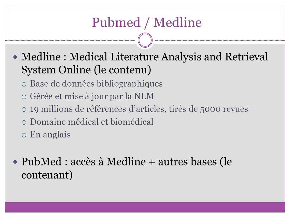 Pubmed / Medline Medline : Medical Literature Analysis and Retrieval System Online (le contenu) Base de données bibliographiques Gérée et mise à jour