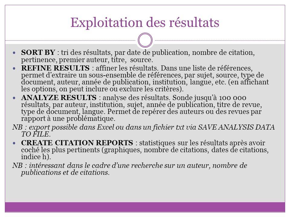 Exploitation des résultats SORT BY : tri des résultats, par date de publication, nombre de citation, pertinence, premier auteur, titre, source. REFINE