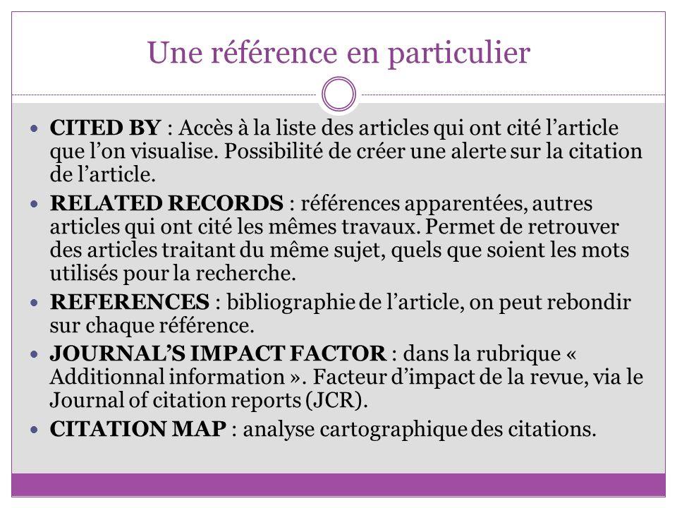 Une référence en particulier CITED BY : Accès à la liste des articles qui ont cité larticle que lon visualise. Possibilité de créer une alerte sur la