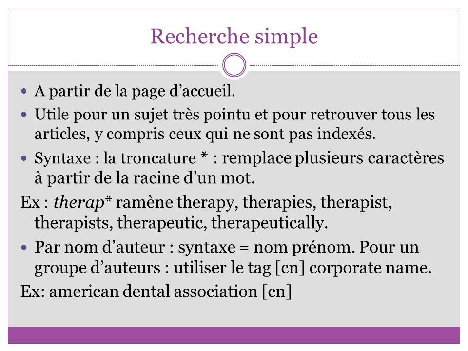 Recherche simple par défaut sur la page daccueil, sur « Title, abstract, keywords ».