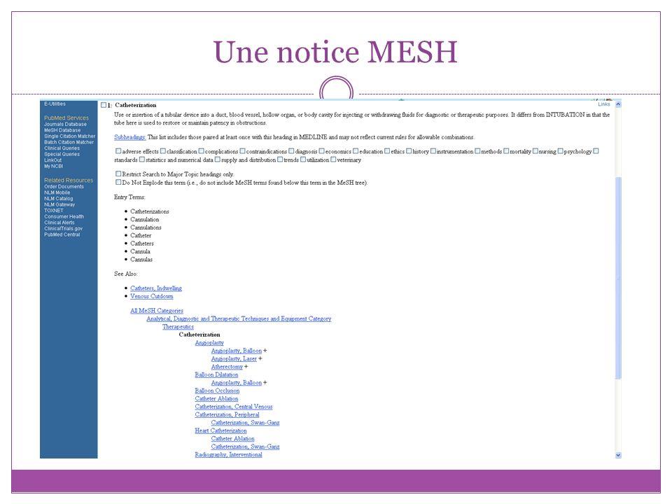 Recherche via Mesh Database Outils terminologiques pour trouver léquivalent du mot clé en MESH : Cismef : Catalogue et Index des Sites Médicaux Francophones.