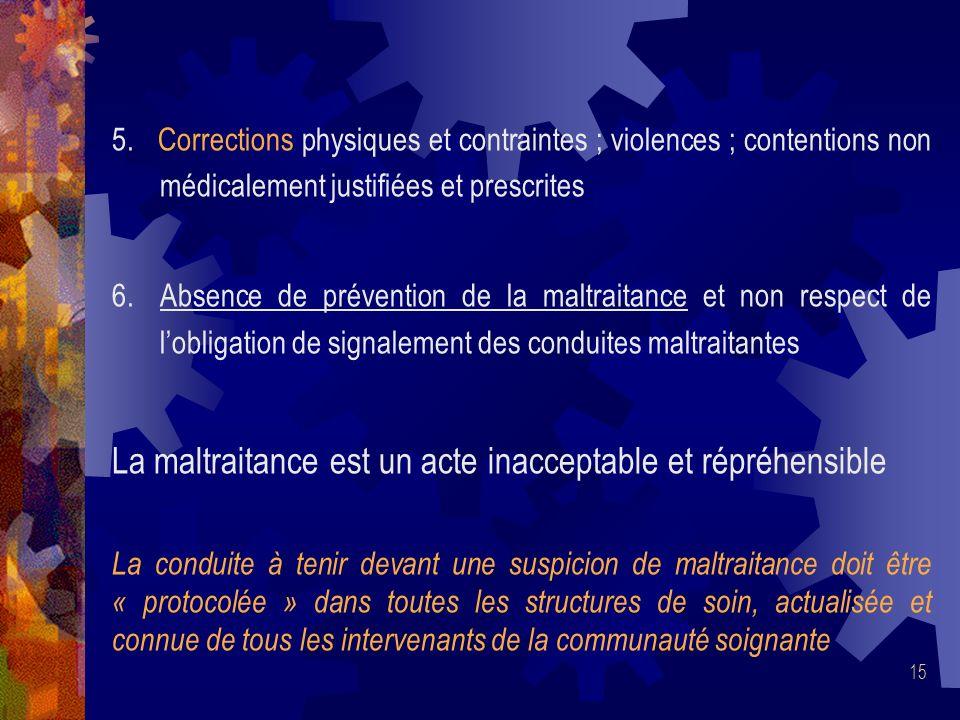 15 5. Corrections physiques et contraintes ; violences ; contentions non médicalement justifiées et prescrites 6. Absence de prévention de la maltrait