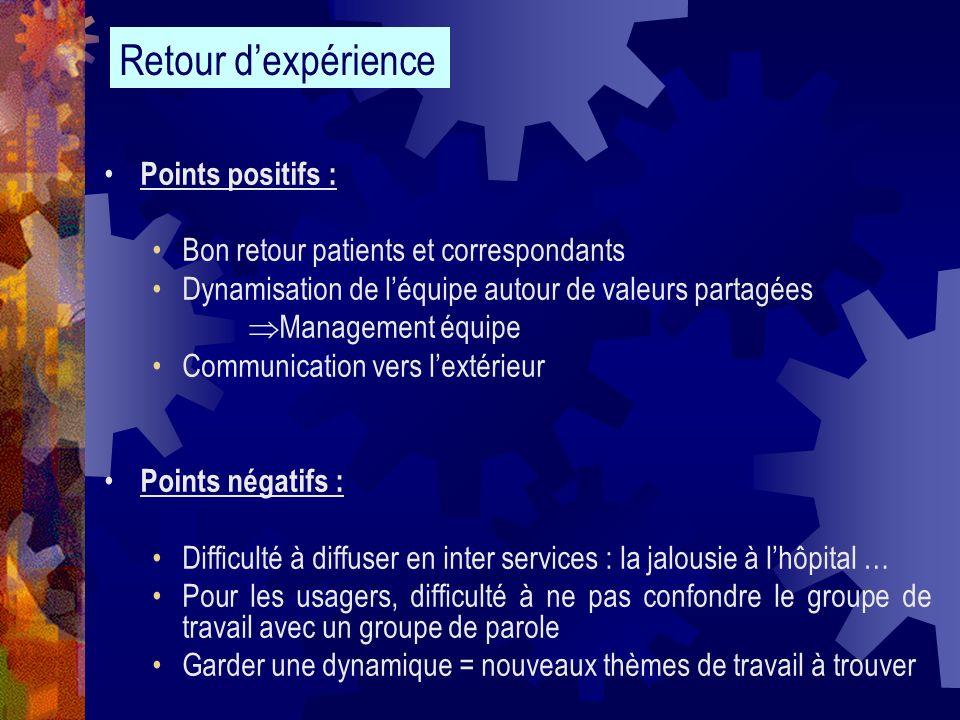 Points positifs : Bon retour patients et correspondants Dynamisation de léquipe autour de valeurs partagées Management équipe Communication vers lexté