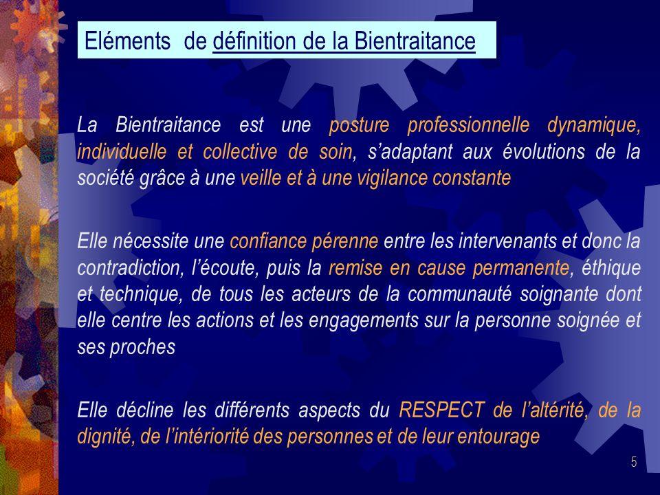 5 La Bientraitance est une posture professionnelle dynamique, individuelle et collective de soin, sadaptant aux évolutions de la société grâce à une v