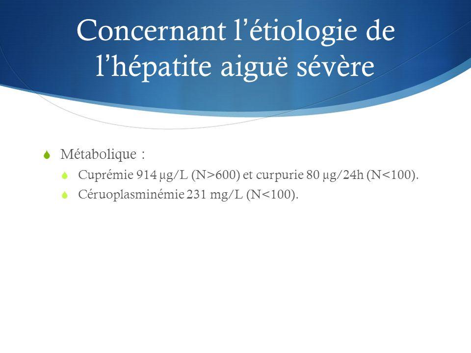 Concernant létiologie de lhépatite aiguë sévère Métabolique : Cuprémie 914 µg/L (N>600) et curpurie 80 µg/24h (N<100). Céruoplasminémie 231 mg/L (N<10