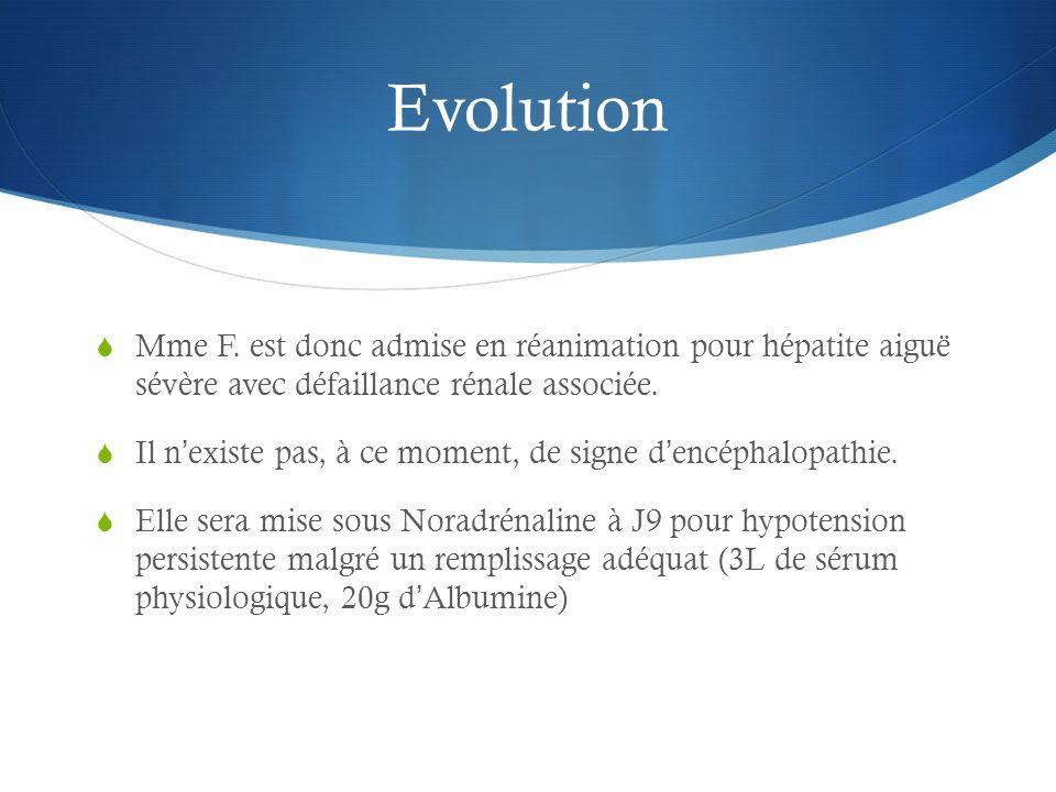 Evolution Mme F. est donc admise en réanimation pour hépatite aiguë sévère avec défaillance rénale associée. Il nexiste pas, à ce moment, de signe den
