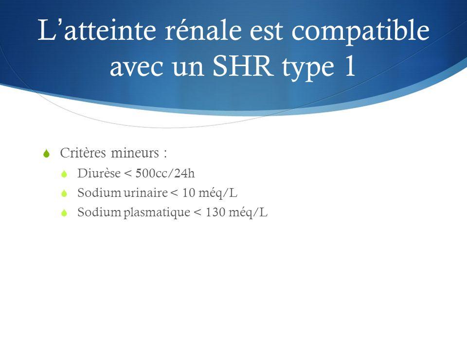 Latteinte rénale est compatible avec un SHR type 1 Critères mineurs : Diurèse < 500cc/24h Sodium urinaire < 10 méq/L Sodium plasmatique < 130 méq/L