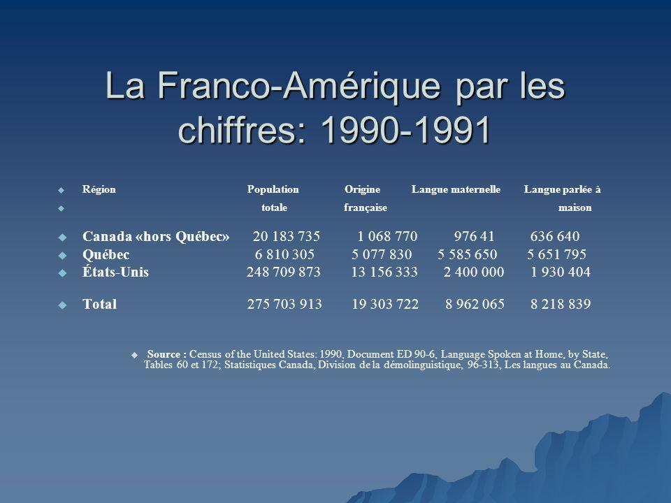 La Franco-Amérique par les chiffres: 1990-1991 Région Population Origine Langue maternelle Langue parlée à totale française maison Canada «hors Québec