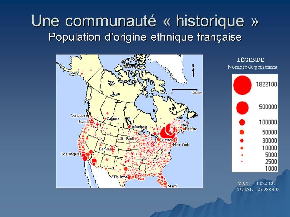 Une communauté « historique » Population dorigine ethnique française LÉGENDE Nombre de personnes MAX : 1 822 105 TOTAL : 23 288 402