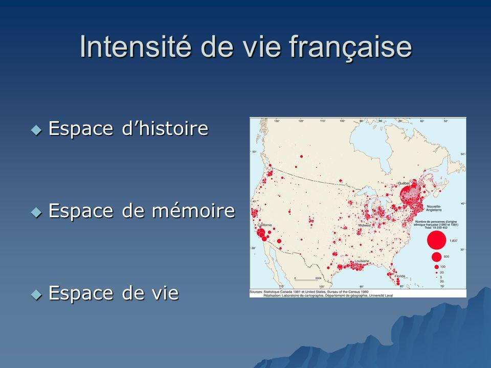 Intensité de vie française Espace dhistoire Espace dhistoire Espace de mémoire Espace de mémoire Espace de vie Espace de vie