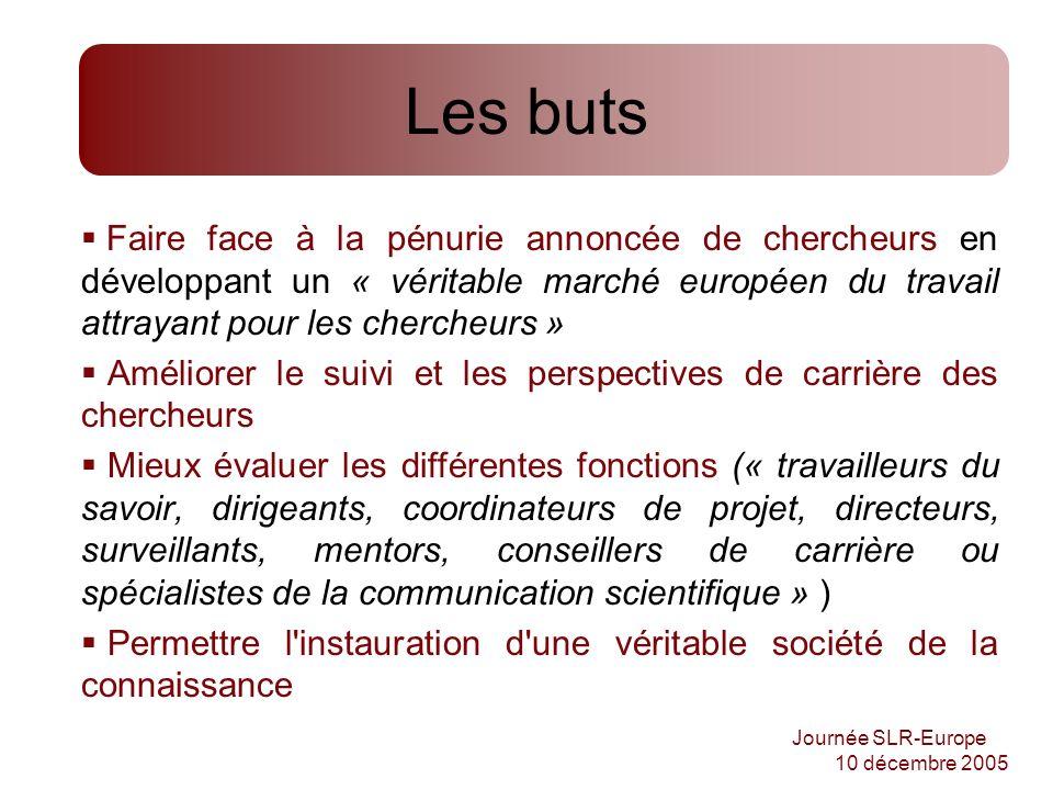 Journée SLR-Europe 10 décembre 2005 Les buts Faire face à la pénurie annoncée de chercheurs en développant un « véritable marché européen du travail a