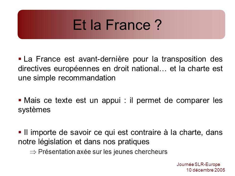 Journée SLR-Europe 10 décembre 2005 Et la France ? La France est avant-dernière pour la transposition des directives européennes en droit national… et