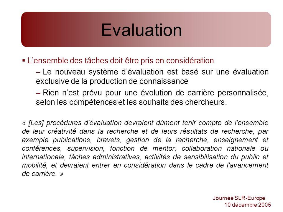Journée SLR-Europe 10 décembre 2005 Evaluation Lensemble des tâches doit être pris en considération – Le nouveau système dévaluation est basé sur une