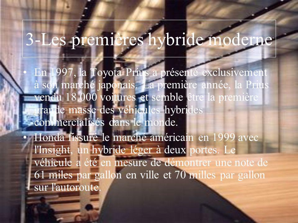 3-Les premières hybride moderne En 1997, la Toyota Prius a présenté exclusivement à son marché japonais. La première année, la Prius vendu 18.000 voit