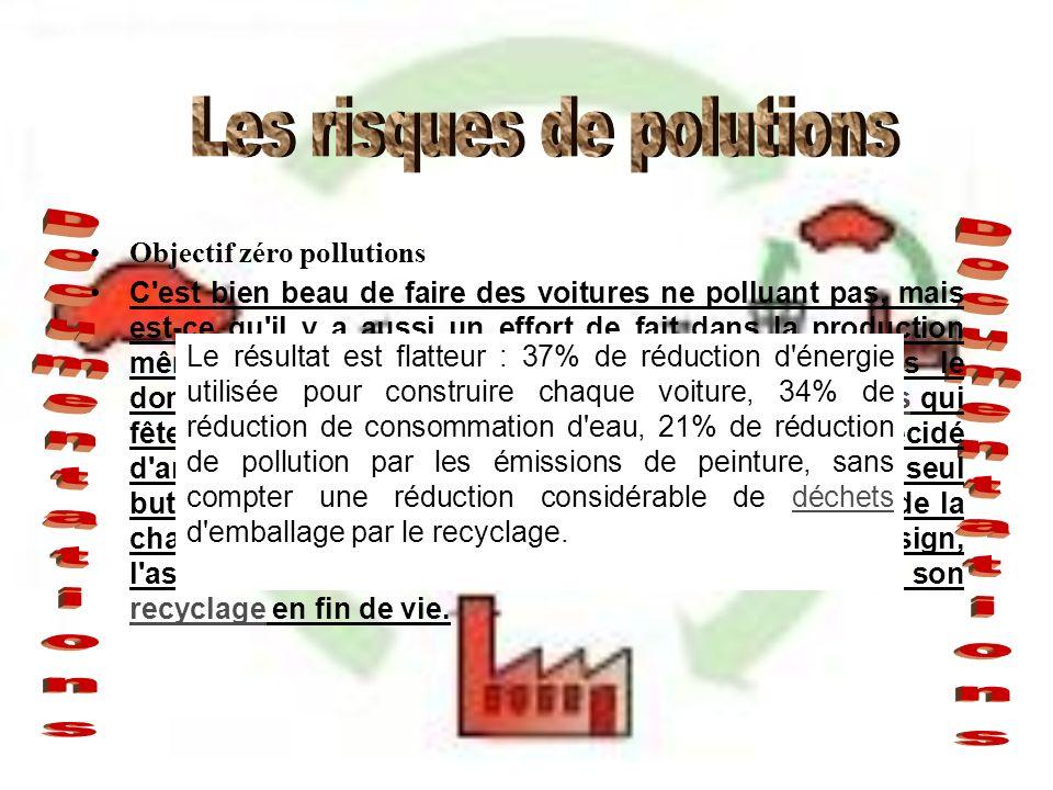 Objectif zéro pollutions C'est bien beau de faire des voitures ne polluant pas, mais est-ce qu'il y a aussi un effort de fait dans la production même