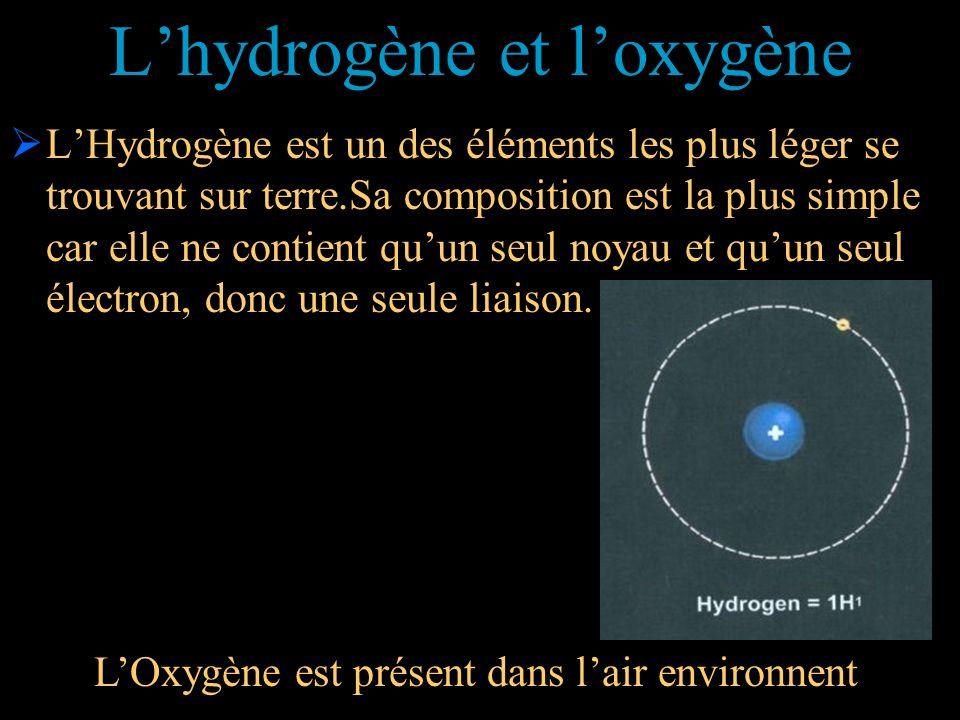 Lhydrogène et loxygène LHydrogène est un des éléments les plus léger se trouvant sur terre.Sa composition est la plus simple car elle ne contient quun