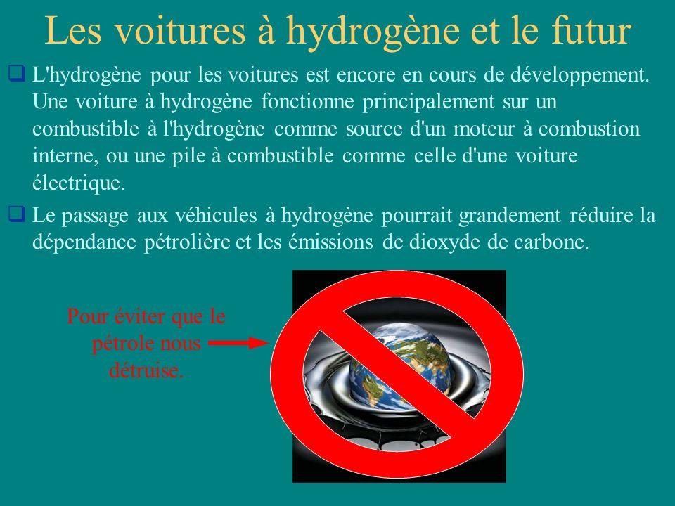 Les voitures à hydrogène et le futur L'hydrogène pour les voitures est encore en cours de développement. Une voiture à hydrogène fonctionne principale