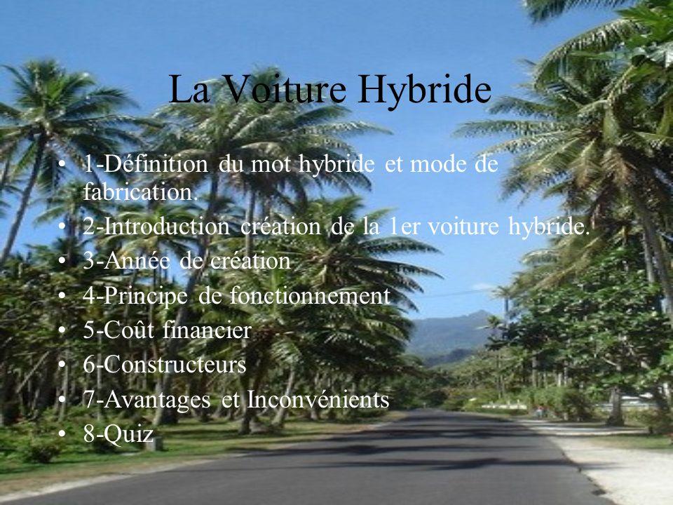 La Voiture Hybride 1-Définition du mot hybride et mode de fabrication. 2-Introduction création de la 1er voiture hybride. 3-Année de création 4-Princi