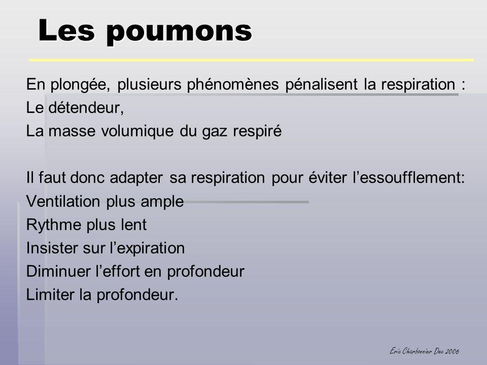 Eric Charbonnier Dec 2006 Les poumons En plongée, plusieurs phénomènes pénalisent la respiration : Le détendeur, La masse volumique du gaz respiré Il