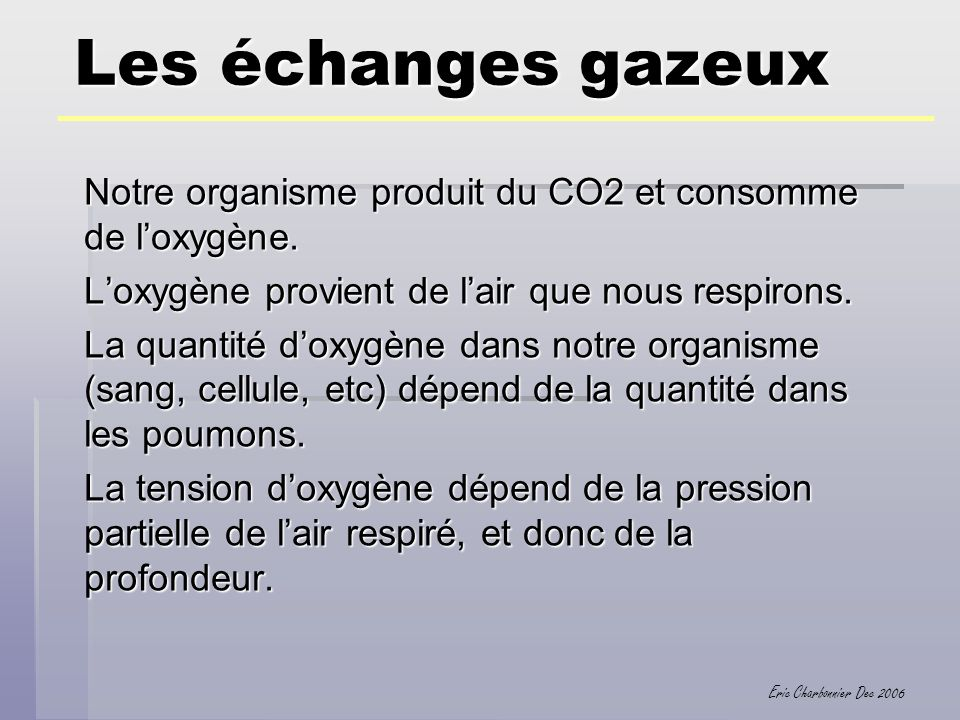 Eric Charbonnier Dec 2006 Les échanges gazeux Notre organisme produit du CO2 et consomme de loxygène. Loxygène provient de lair que nous respirons. La