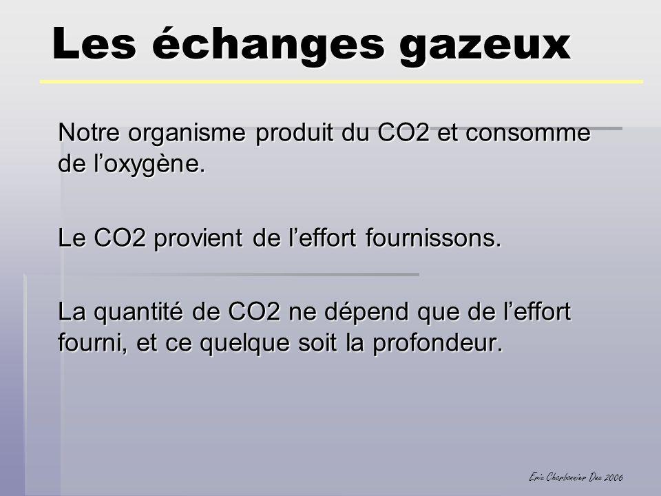 Eric Charbonnier Dec 2006 Les échanges gazeux Notre organisme produit du CO2 et consomme de loxygène. Le CO2 provient de leffort fournissons. La quant