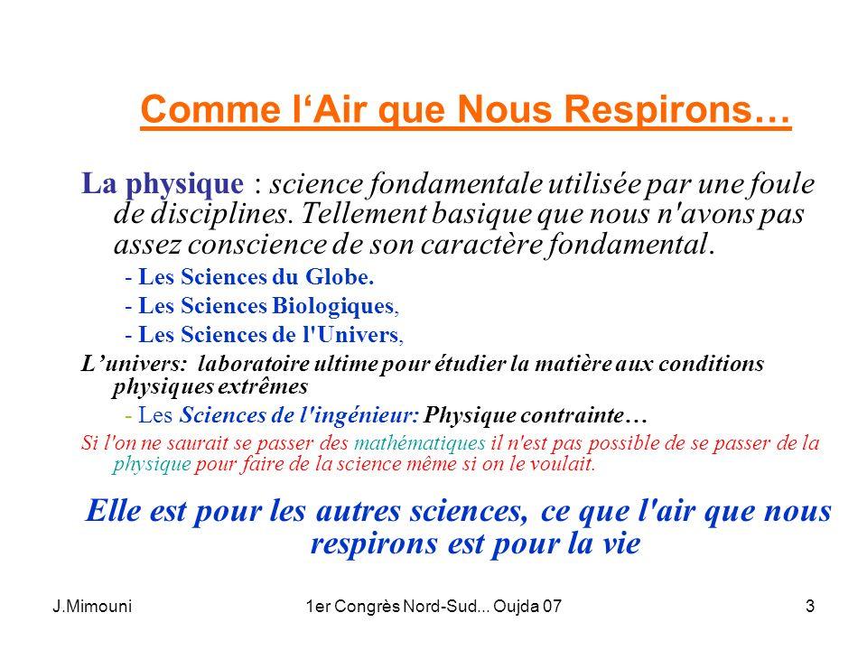 J.Mimouni1er Congrès Nord-Sud... Oujda 073 Comme lAir que Nous Respirons… La physique : science fondamentale utilisée par une foule de disciplines. Te