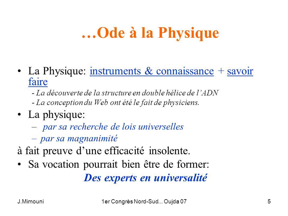 J.Mimouni1er Congrès Nord-Sud... Oujda 075 …Ode à la Physique La Physique: instruments & connaissance + savoir faire - La découverte de la structure e