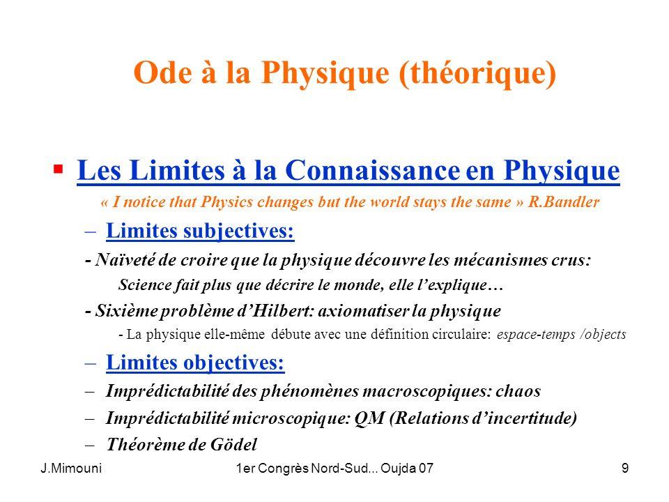 J.Mimouni1er Congrès Nord-Sud... Oujda 079 Ode à la Physique (théorique) Les Limites à la Connaissance en Physique « I notice that Physics changes but
