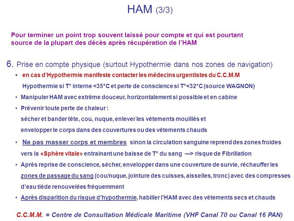 HAM (3/3) 6. Prise en compte physique (surtout Hypothermie dans nos zones de navigation) en cas dHypothermie manifeste contacter les médecins urgentis