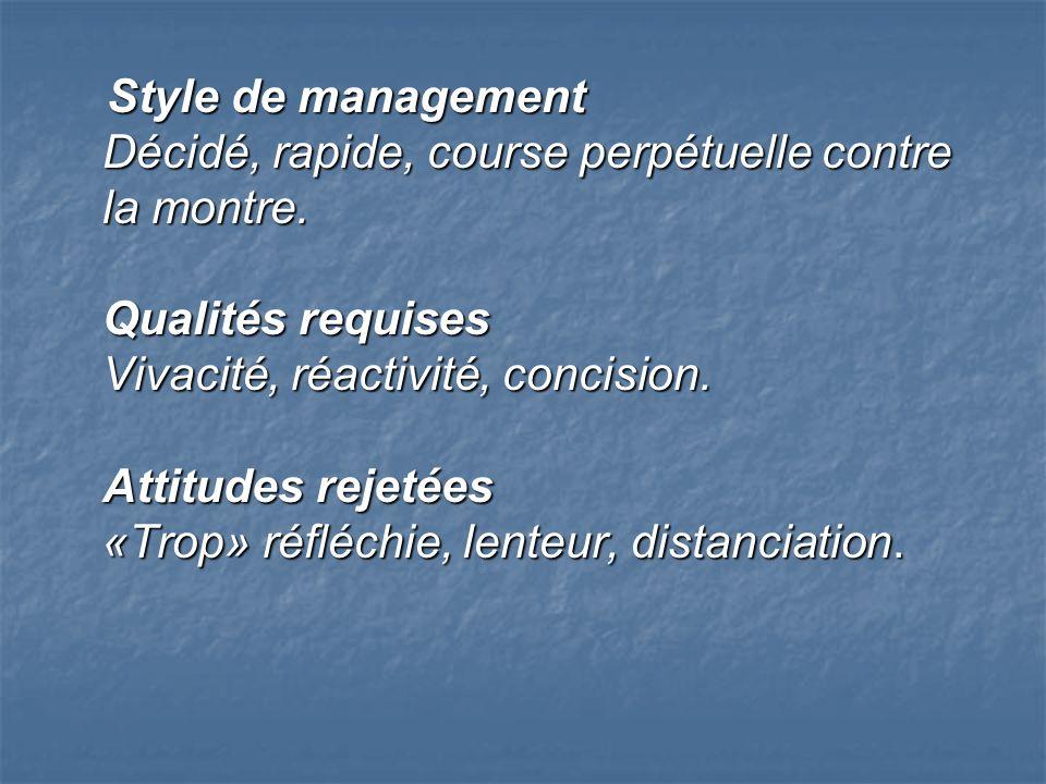 Style de management Décidé, rapide, course perpétuelle contre la montre. Qualités requises Vivacité, réactivité, concision. Attitudes rejetées «Trop»