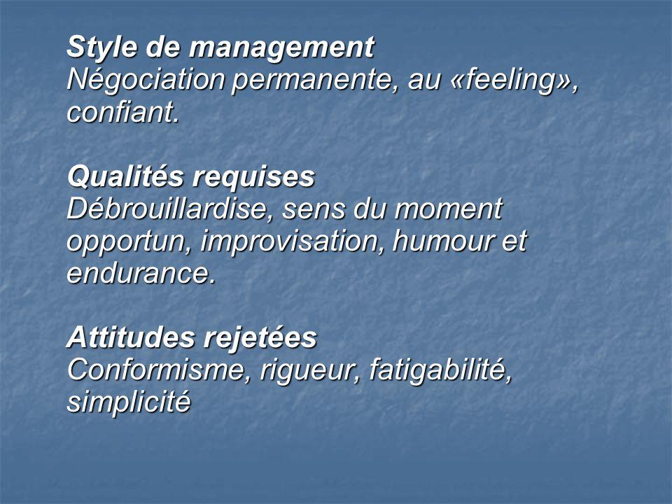 Style de management Négociation permanente, au «feeling», confiant. Qualités requises Débrouillardise, sens du moment opportun, improvisation, humour
