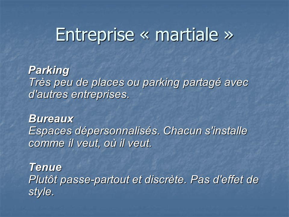 Entreprise « martiale » Parking Très peu de places ou parking partagé avec d'autres entreprises. Bureaux Espaces dépersonnalisés. Chacun s'installe co