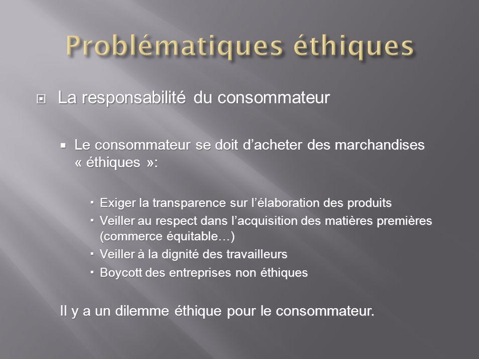 La responsabilité du consommateur La responsabilité du consommateur Le consommateur se doit dacheter des marchandises « éthiques »: Le consommateur se