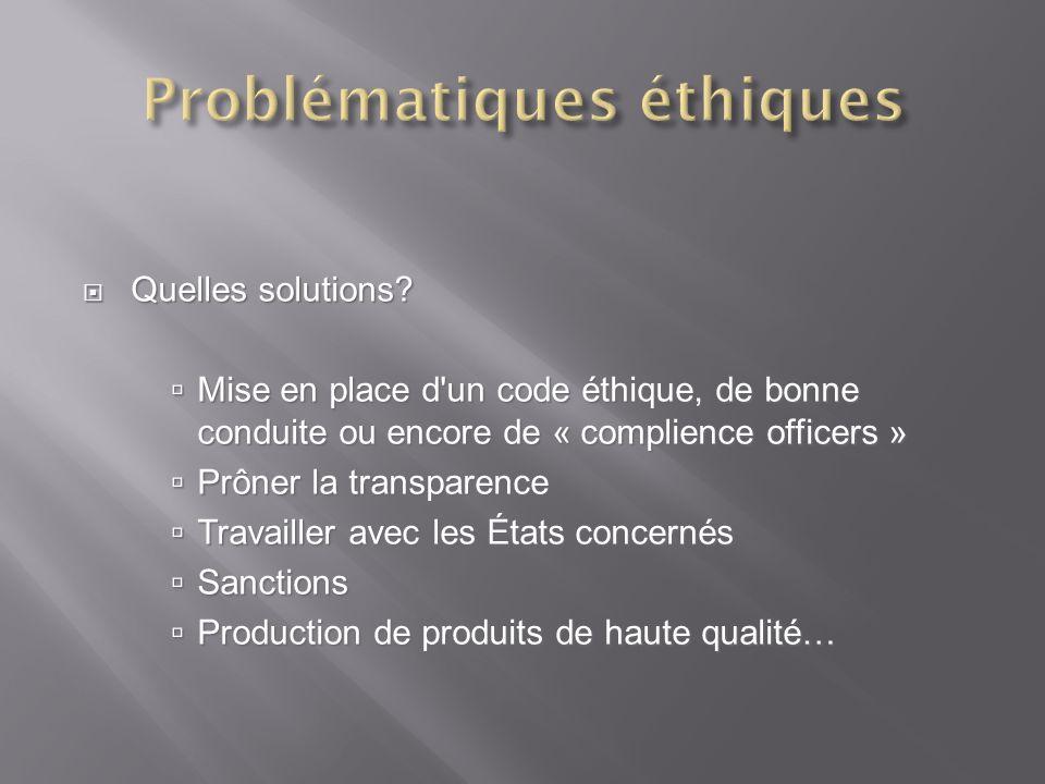 Quelles solutions? Quelles solutions? Mise en place d'un code éthique, de bonne conduite ou encore de « complience officers » Mise en place d'un code