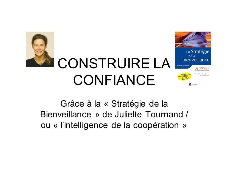 CONSTRUIRE LA CONFIANCE Grâce à la « Stratégie de la Bienveillance » de Juliette Tournand / ou « lintelligence de la coopération »