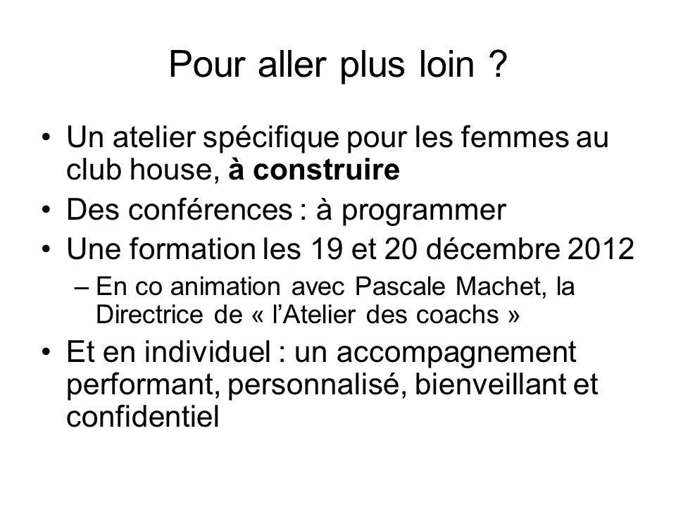 Pour aller plus loin ? Un atelier spécifique pour les femmes au club house, à construire Des conférences : à programmer Une formation les 19 et 20 déc
