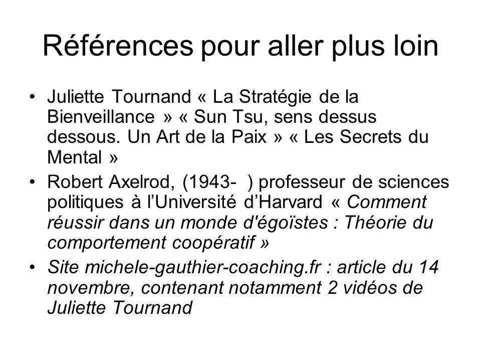 Références pour aller plus loin Juliette Tournand « La Stratégie de la Bienveillance » « Sun Tsu, sens dessus dessous. Un Art de la Paix » « Les Secre