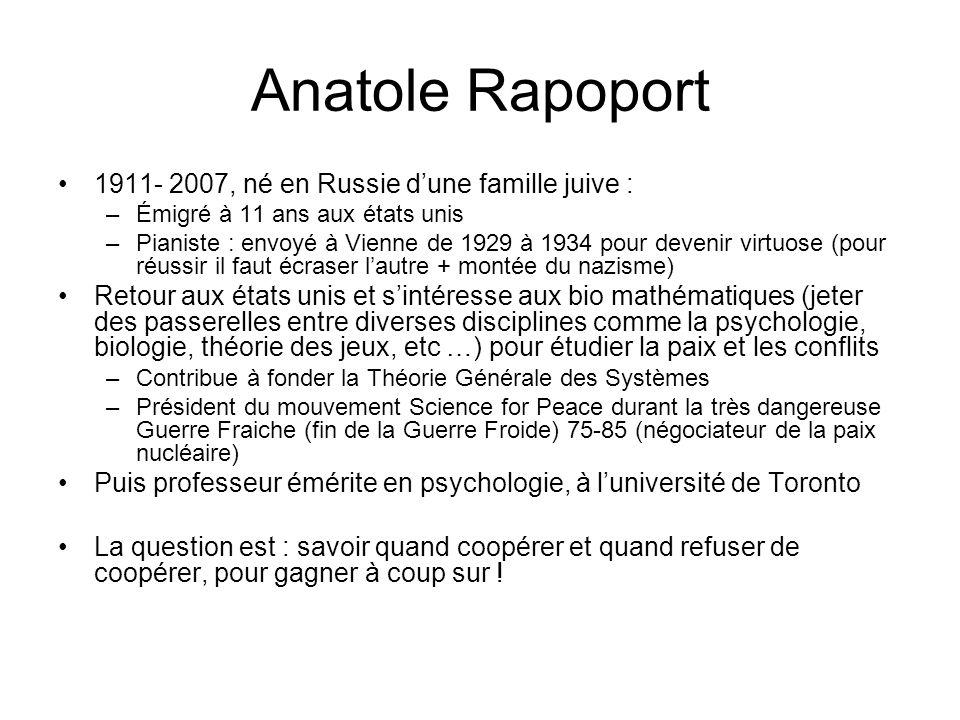 Anatole Rapoport 1911- 2007, né en Russie dune famille juive : –Émigré à 11 ans aux états unis –Pianiste : envoyé à Vienne de 1929 à 1934 pour devenir