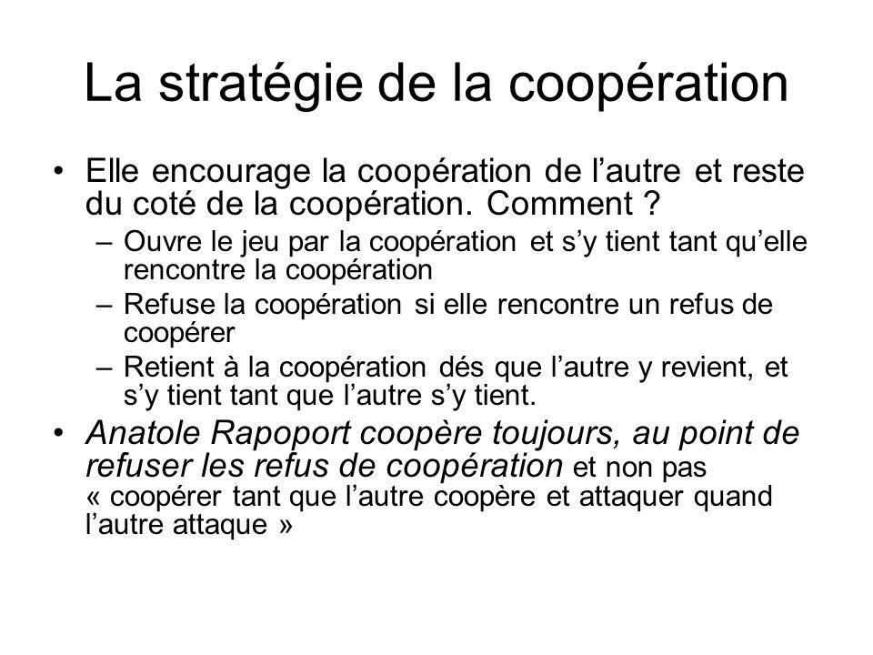 La stratégie de la coopération Elle encourage la coopération de lautre et reste du coté de la coopération. Comment ? –Ouvre le jeu par la coopération