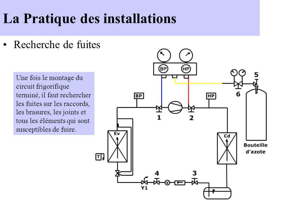 La Pratique des installations Recherche de fuites Une fois le montage du circuit frigorifique terminé, il faut rechercher les fuites sur les raccords,